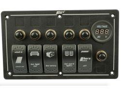 Schalter Bedienpanel 5x Wippenschalter und Voltanzeige Rocker Switch